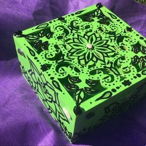 Upcycled wooden hand painted box crystals glued